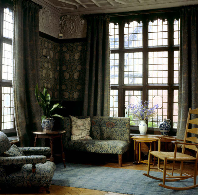 "Corner view of the Billiard Room at Wightwick Manor showing ""Pimpernel"" Morris wallpaper"