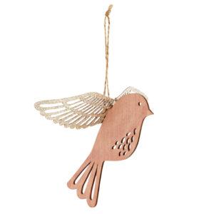 drewniany rózowy ptaszek zawieszka świąteczna z brokatowymi skrzydłami