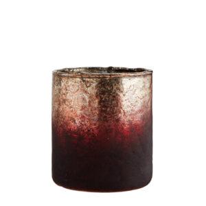 Szklany lampion bordowozłoty w stylu vintage