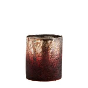 lampion bordowo złoty na tea-light szklany