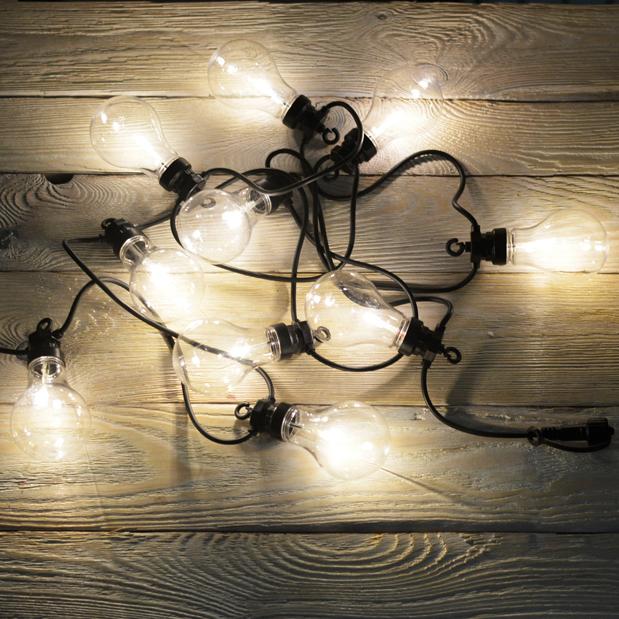 Girlanda ogrodowa EDISON do łączenia 100 LED ciepłe na czarnym kablu
