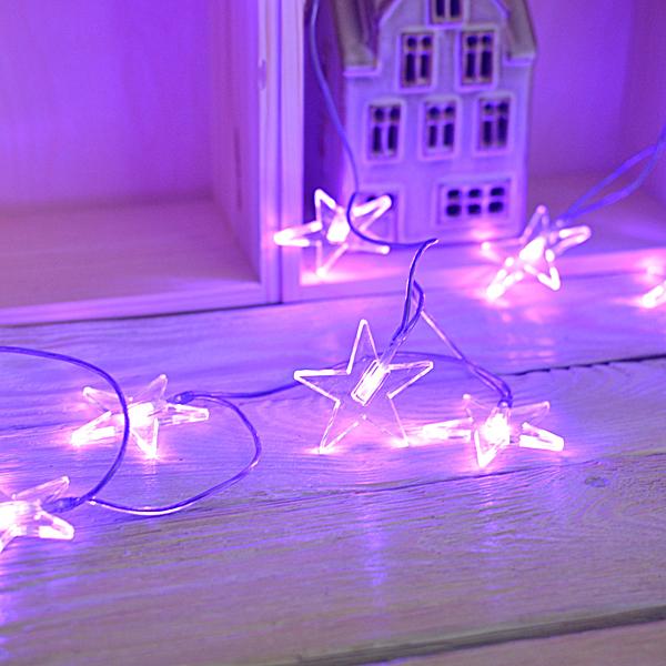 Lampki na baterie fioletowe gwiazdki świąteczne