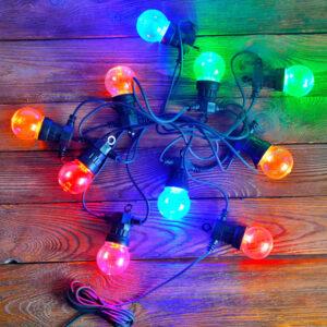 Girlanda kolorowe żarówki na czarnym kablu girlanda 5 m