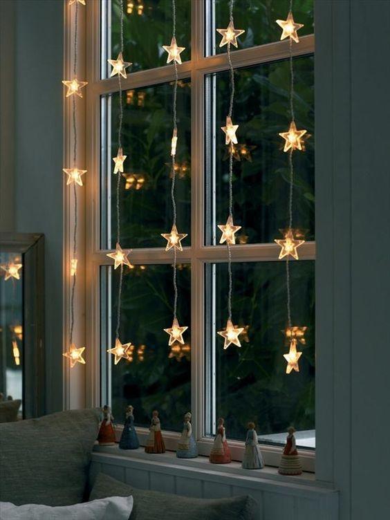 Kurtyna świąteczna LED gwiazdki do zawieszenia w oknie