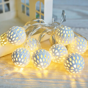 lampki ciepłe LED ażurowe białe na baterie