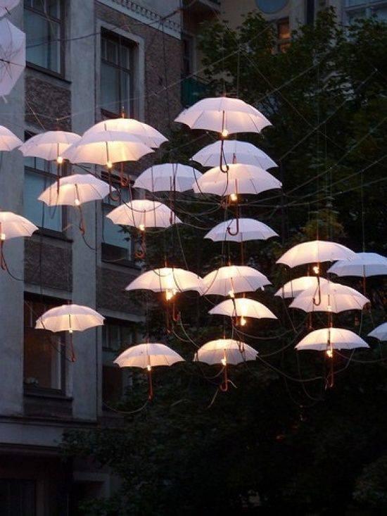 żarówki z ozdobnymi parasolkami