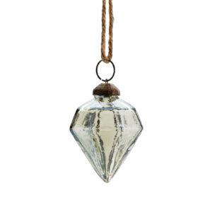 Bombka w kształcie diamentu w kolorze zielonym z lustrzaną powłoką vintage