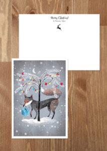kartka świąteczna lisek z prezentem