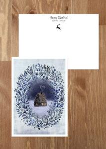 kartka świąteczna domek w światełkach