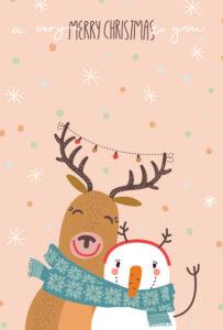 kartka świąteczna renifer i bałwanek