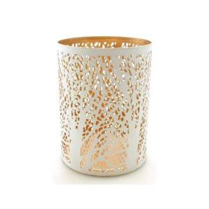 lampipn ażurowy biały święta, złoty w środku