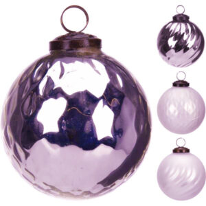 Bombka szklana fioletowa i kremowa vintage