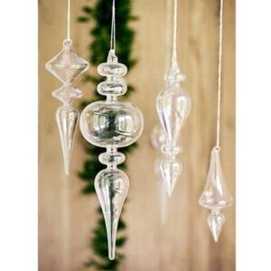szklane przezroczyste bombki w kształcie sopli świąteczne