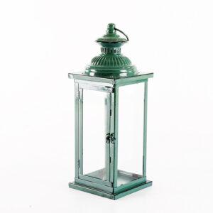 Lampion szarozielony vintage duży metalowy z przetarciami
