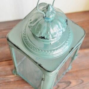 lampion vintage duży chłodny zielony z przecierkami