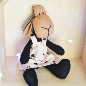 owieczka z bawełny hand made w sukience w serduszka
