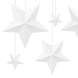 papierowe gwiazdy 3D do zawieszenia dekoracja świąteczna