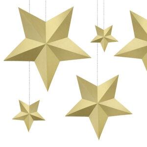 duże papierowegwiazdy 3D do zawieszenia świąteczne złote