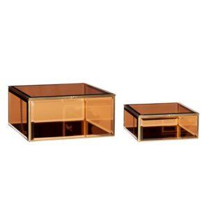 złote pudełka duże ze szkła i metalu, bardzo ozdobne