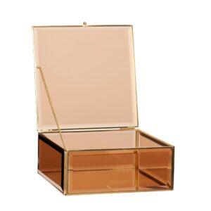 szkalne pudełko na koperty ślubne, drobiagi, eleganckie, złote z brązowymi szybkami